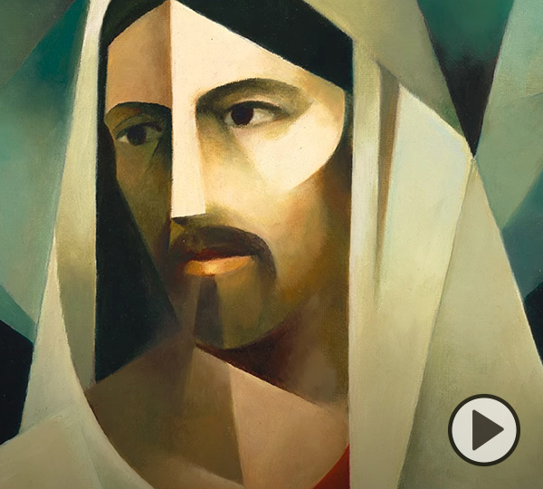 A sacrocubist portrait of Jesus Christ: Cristo by Jorge Cocco Santángelo with a video button at lower right.