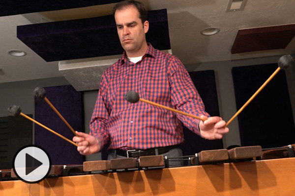School of Music professor Darren Bastian playing the marimba.