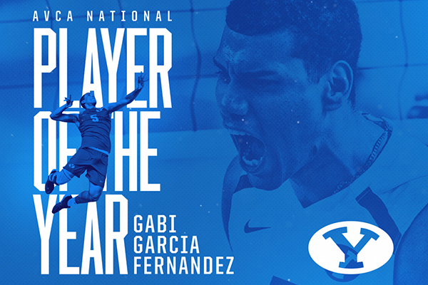 Blue graphic with action photos of AVCA National Player of the Year Gabi Garcia Fernandez.