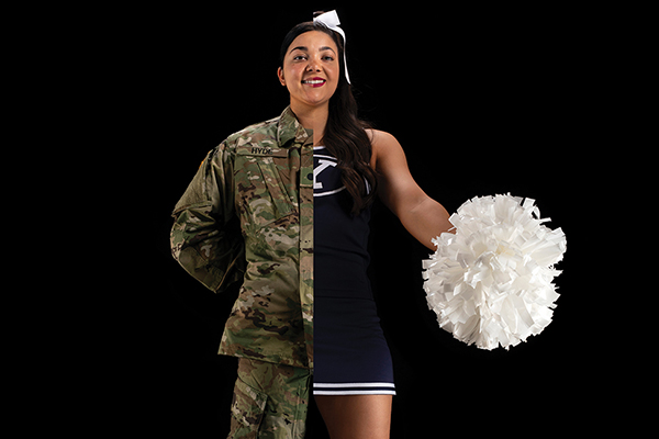 This split shot of BYU student Jenae Hyde shows her dressed in army fatigues on the left and a cheerleading outfit on the right.