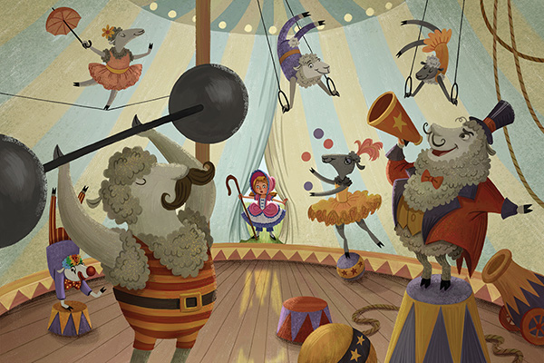 This illustration of sheep performing in a circus tent is titled: Little Bo Peep Finally Found Her Sheep . . . in the Most Unexpected Place.
