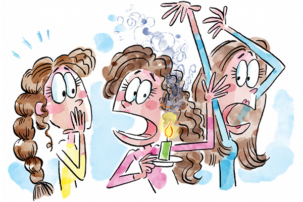 Comic illustration of three brown-haired sisters, one holding a candle which is burning her hair. The other two react in surprise and terror.