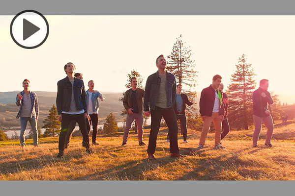BYU Vocal Point and Peter Hollens stand in a grassy area bathed in golden sunshine.