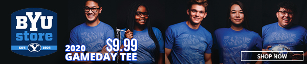BYU Store 2020 Gameday Tee $9.99 Shop Now. Image shows 5 students wearing the new royal blue shirts with BYU sailor cougar and fight song graphic.