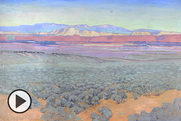 Painting from teh exhibit: MABEL PEARL FRAZER (1887-1982), DESERT GRANDEUR, C.1940, OIL ON CANVAS, 36 1/2 X 53 INCHES. BRIGHAM YOUNG UNIVERSITY MUSEUM OF ART, 1984.